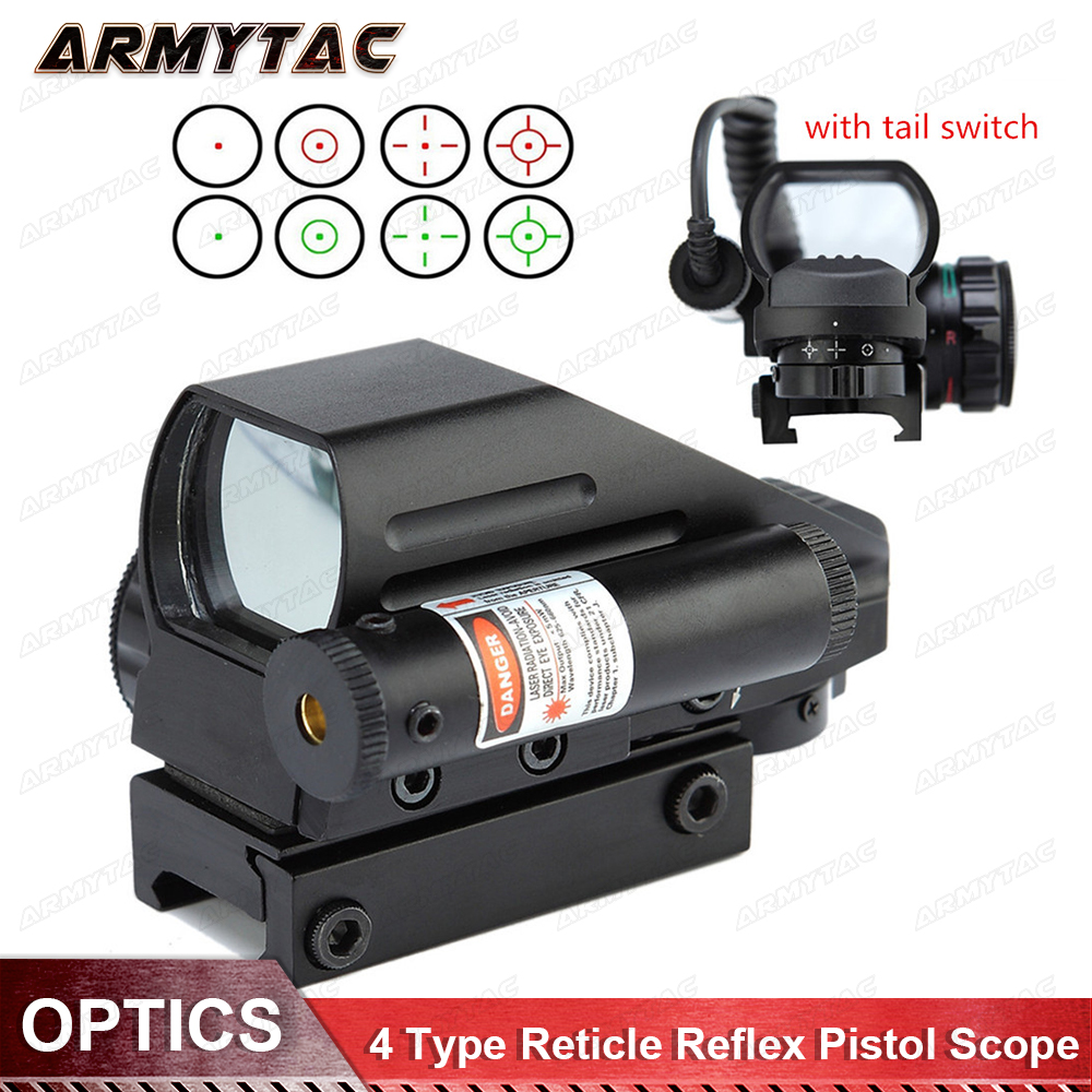 Hunting Optics Sight Scopes Holographic Sight Red Dot 4 Type Reticle Reflex Pistol Tactical Airsoft Air Guns 20mm Mount ScopesHunting Optics Sight Scopes Holographic Sight Red Dot 4 Type Reticle Reflex Pistol Tactical Airsoft Air Guns 20mm Mount Scopes