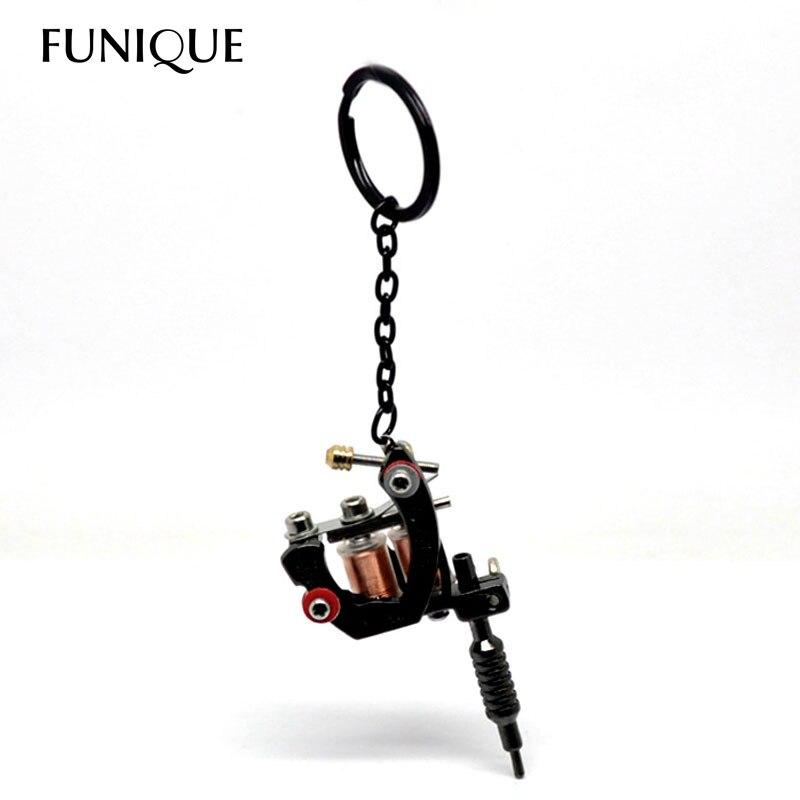FUNIQUE Black Metal Mini Tattoo Machine Pendant Charm keychain Key Ring For Men Women key chains Jewelry Gifts chaveiro 15cmx4cm