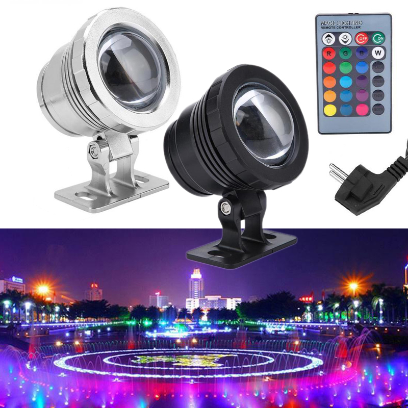 10W 20W  RGB Led Underwater Light Waterproof IP65 Fountain Pool Ponds Aquarium Tank Lamp 16 color  Remote controller Spot Lights