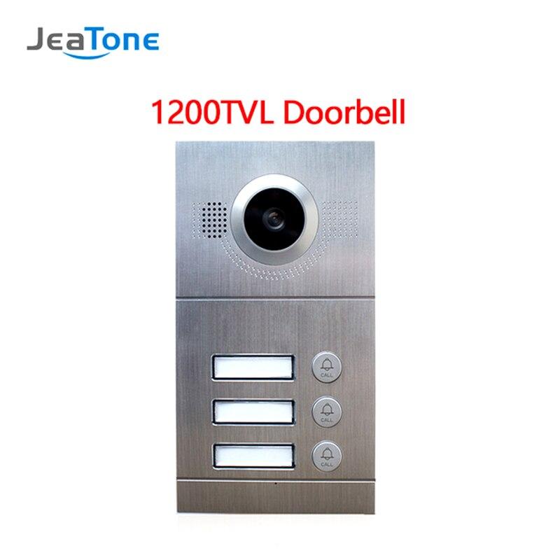 JeaTone Video Door Phone Analog Door Bell IR Camera 1200TVL 3 Buttons Call Panel IP65 Waterproof Door Access Control Panel