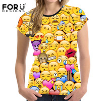 FORUDESIGNS T Shirt Women Top Shirt Kawaii 3D Emoji Smily Face Teen Girls Clothes Female Funny