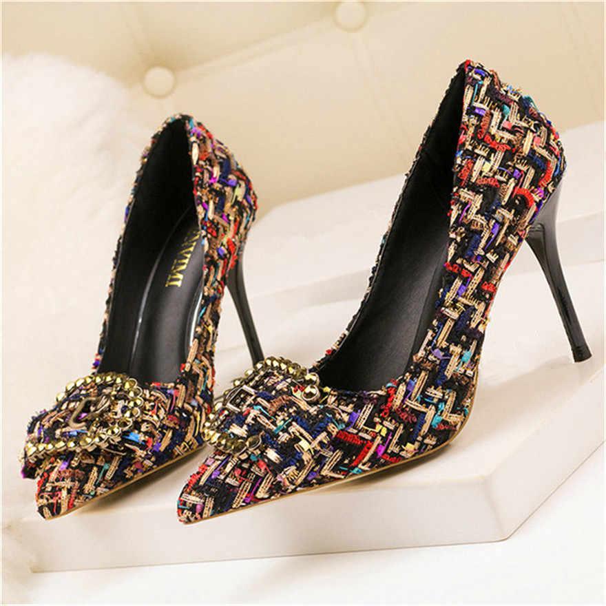 Coreano Colori Misti Lana Pompe Delle Donne Nuovo Elegante di Cristallo del Metallo delle Donne Fibbia Scarpe Tacco Alto Autunno Superficiale Ufficio Vestito scarpa