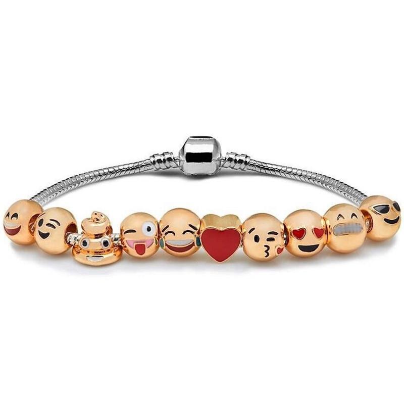 AOMU 2017 Newest Fashion Funny Custom Emoji Charm Bracelets For Women Men DIY Silver Plated Smiley Emoticon Beads Bracelets 9