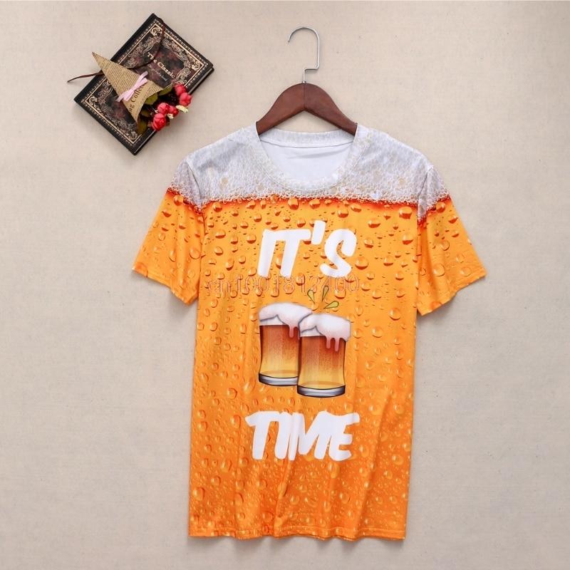 Female Shirt Slim Fit Short-sleeved Tops Tee Summer Fresh Beer 3D Print Casual T Shirt