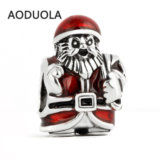 10 Pcs a Lot Christmas Collection Beads Santa Claus DIY Big Hole Metal  Beads Spacer Bead 54979600ed83