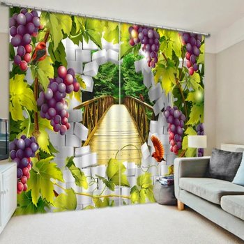 Grape Fruits 3D Printed Blackout  Window Curtains For Bedding room Living room Wall  Home Tapestry Decorative Drapes Cortinas