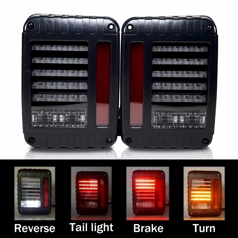LED Tail Lights for Jeep Wrangler Tail Light Brake Reverse DRL Turn Singal Lamp Back Up Rear Parking Stop Light Daytime Running