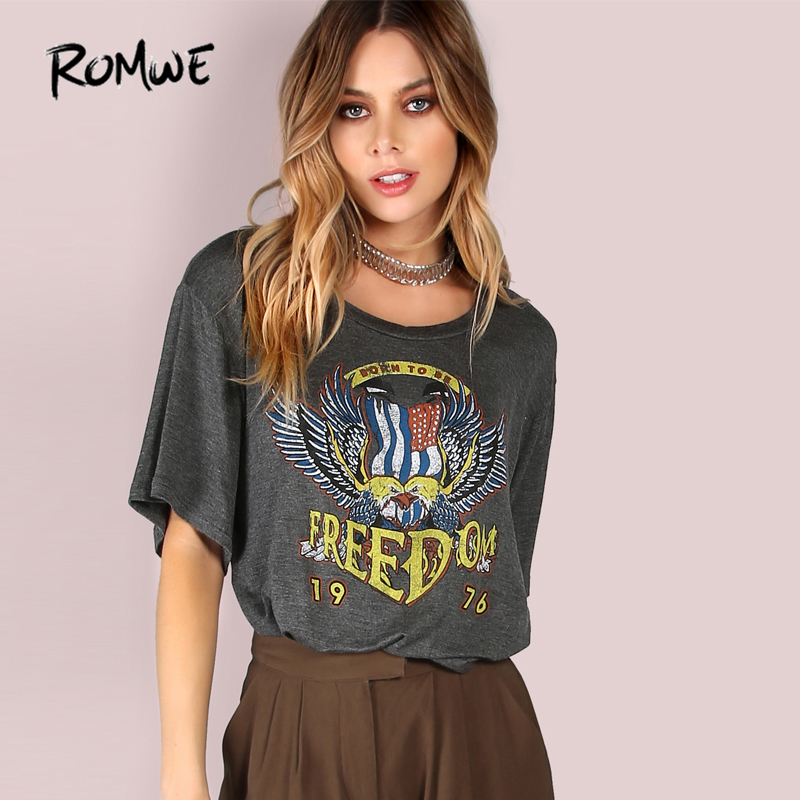 100% QualitäT Romwe Freiheit Graphic Print Crop Top Holzkohle T 2019 Grau Rock Frauen Sommer Tops Mode Kurzarm Stretchy Casual T-shirt Spezieller Sommer Sale