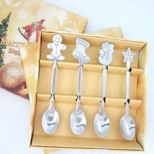 4 шт. рождественский стиль чайная ложка рождественские столовые приборы украшения аксессуары из нержавеющей стали кофейная десертная ложка для мороженого
