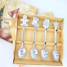 4 adet noel tarzı çay kaşığı noel çatal bıçak takımı sofra takımı dekorasyon aksesuarları paslanmaz çelik kahve tatlı buz kaşık