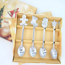 4 stücke Weihnachten Stil Teelöffel Weihnachten Besteck Besteck Dekoration Zubehör Edelstahl Kaffee Dessert Eis Löffel