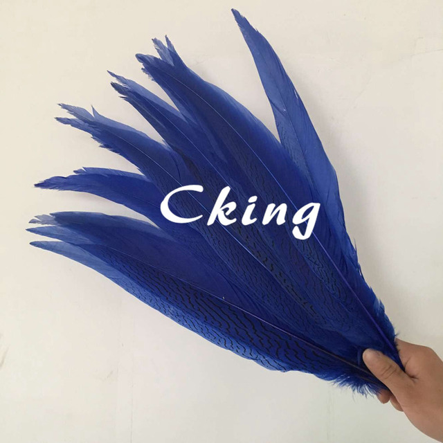 50pcs Royal Blue Beautiful Silver Pheasant Feather Chicken Plume For