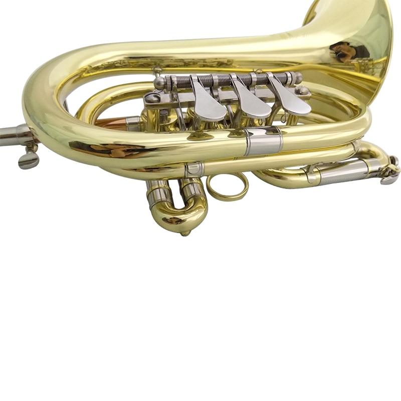 Bb Rotary Cornet Lacquer Finish Geelkoperen cornet trompet met harde - Muziekinstrumenten - Foto 4