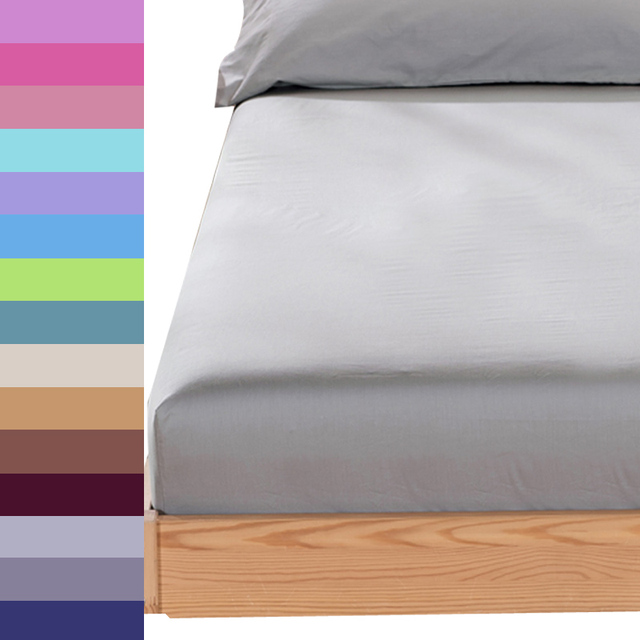 Grey Bed Sheet Fitted Sheet With Round Elastic Plain Bedding King