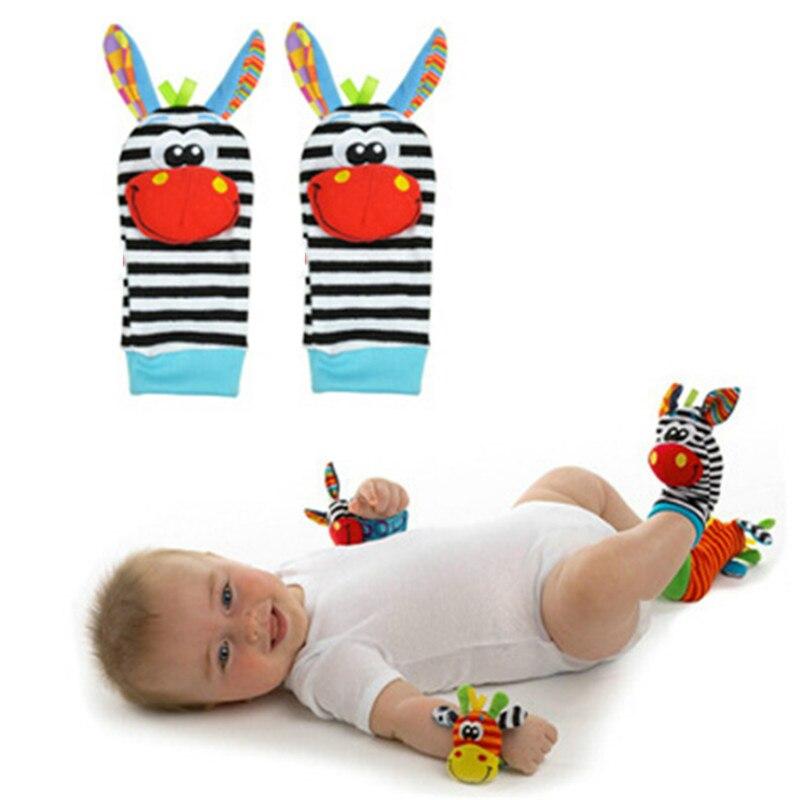 2 Pcs/pair Infant Baby Socks Rattle Toys Cute Animal Wrist Rattles Bell 0~24 Months Soft Newborn Foot Socks