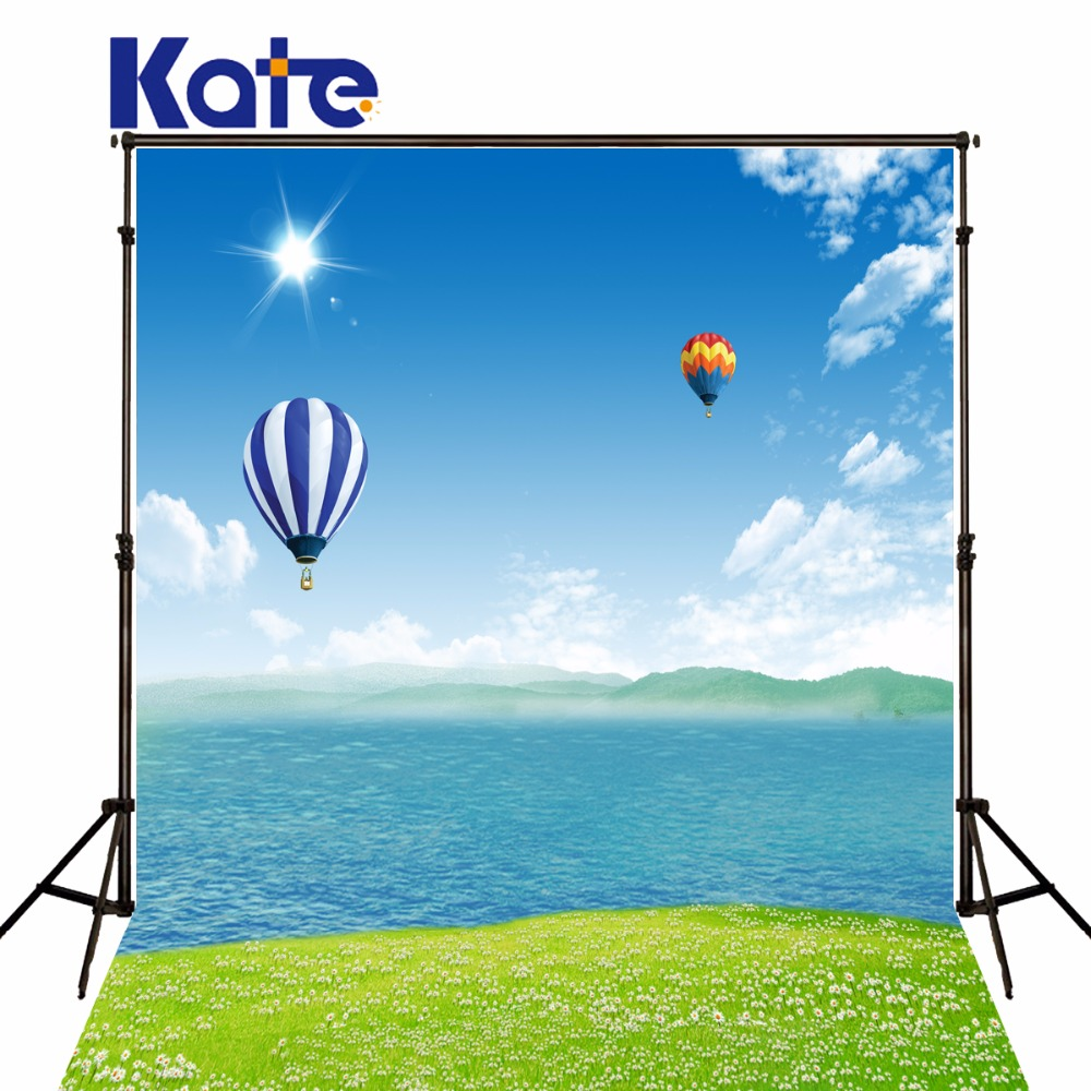 Kate sea scenery backdrop photography hot air balloon Flowers background fotografia backgrounds for photo studio heart shap balloons photography backgrounds scenery photo backdrop for photo studio photographic background fotografia props