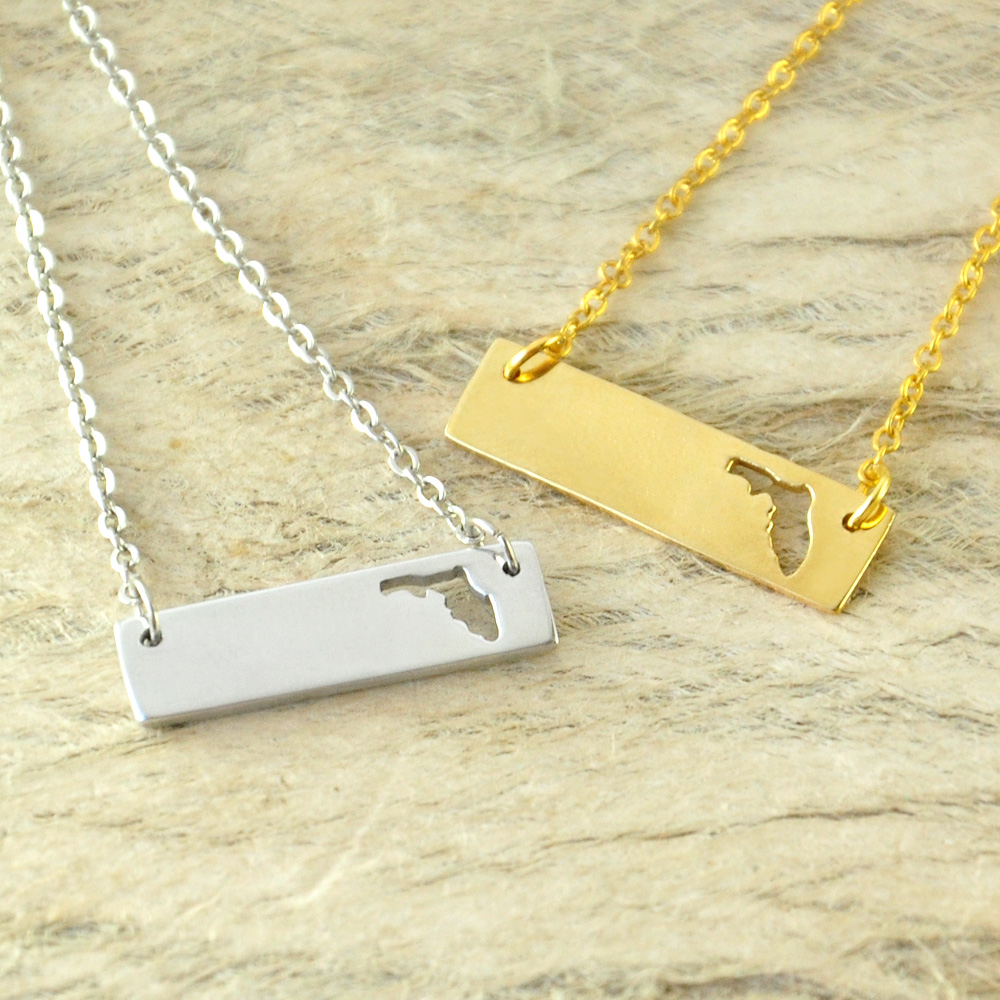 Florida Bar Necklace Cut Out Map Necklace Alloy State Necklace Map Charm Custom Map State Pride Bar Necklace