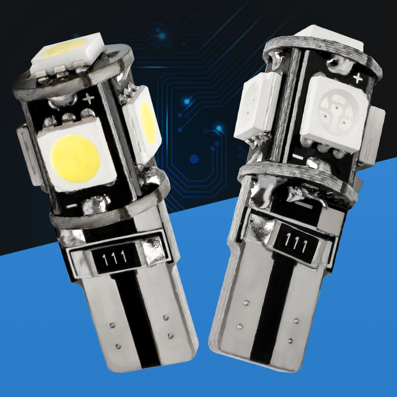 10pcs T10 5 SMD 5050 LED Canbus Error Free Car Interior Dome Lights W5W 194 5SMD Auto Wedge Tail Side Bulb License Plat Lamp 10X
