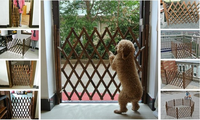 1pcs/set Pet Fence Gate Free Standing Adjustable Dog Gate Wooden ...