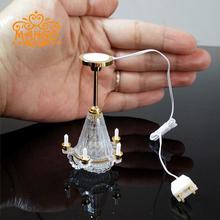 1 12 Dollhouse Miniature Pendant Lamp Light 5 Candles lamp Battery OperatedFree Shipping
