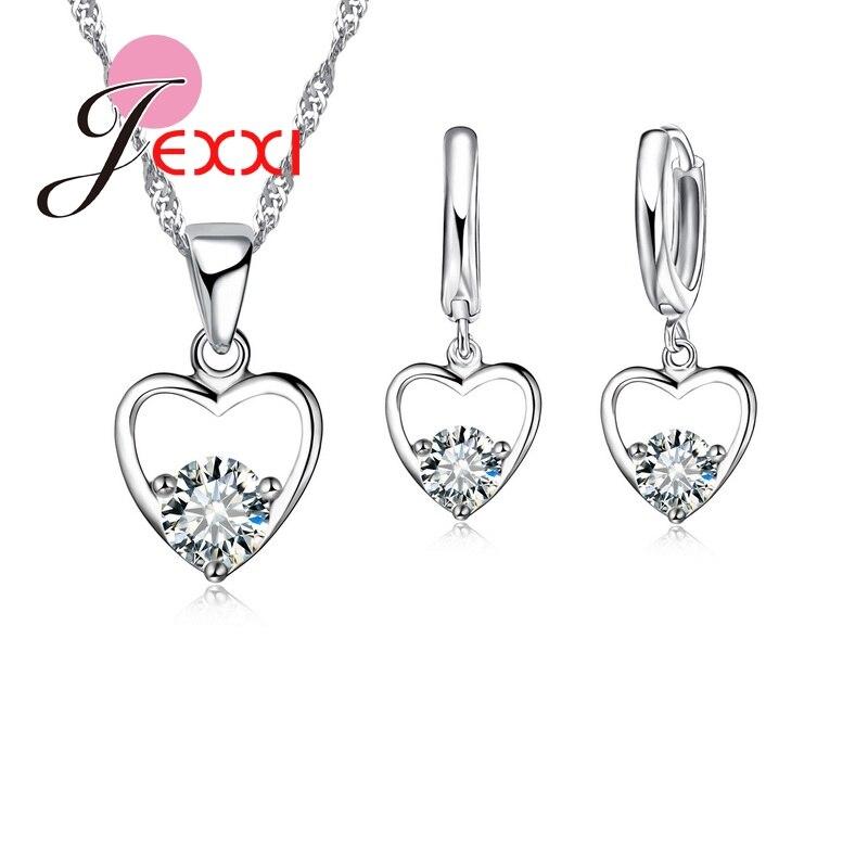 JEXXI Fashion CZ Zircon 925 Sterling Silver Jewelry Set Necklace Earrings Pendant Pretty Love HeartFashion Design