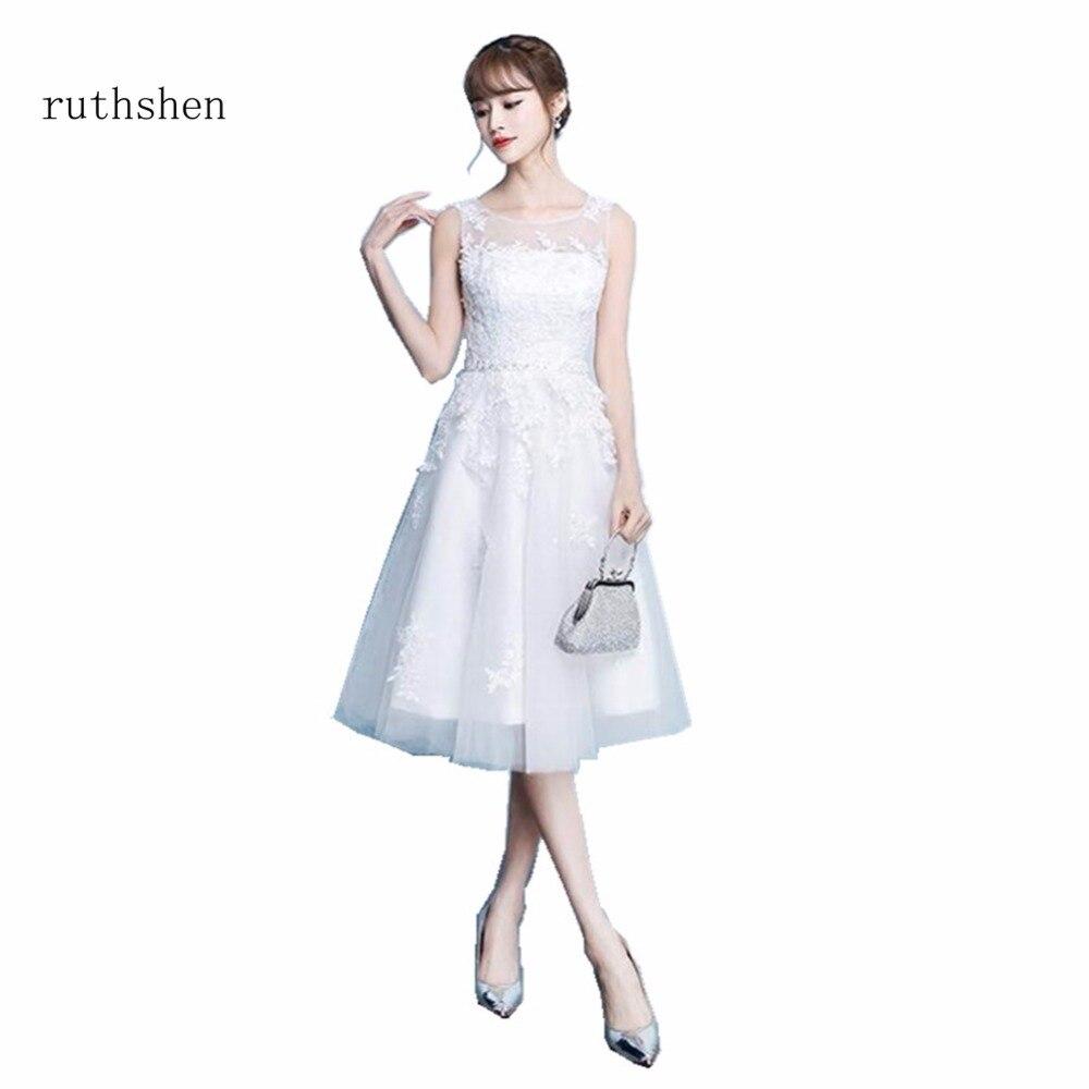 ruthshen Robe De Soiree Short   Cocktail     Dresses   2018 Sleeveless Appliques Party Evening Gowns Vestidos Coctel Knee Length   Dresses
