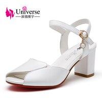 Universe Cow Leather Woman Sandals Concise Shoes Comfortable Square Heel Shoes Plus Size34 43 C146