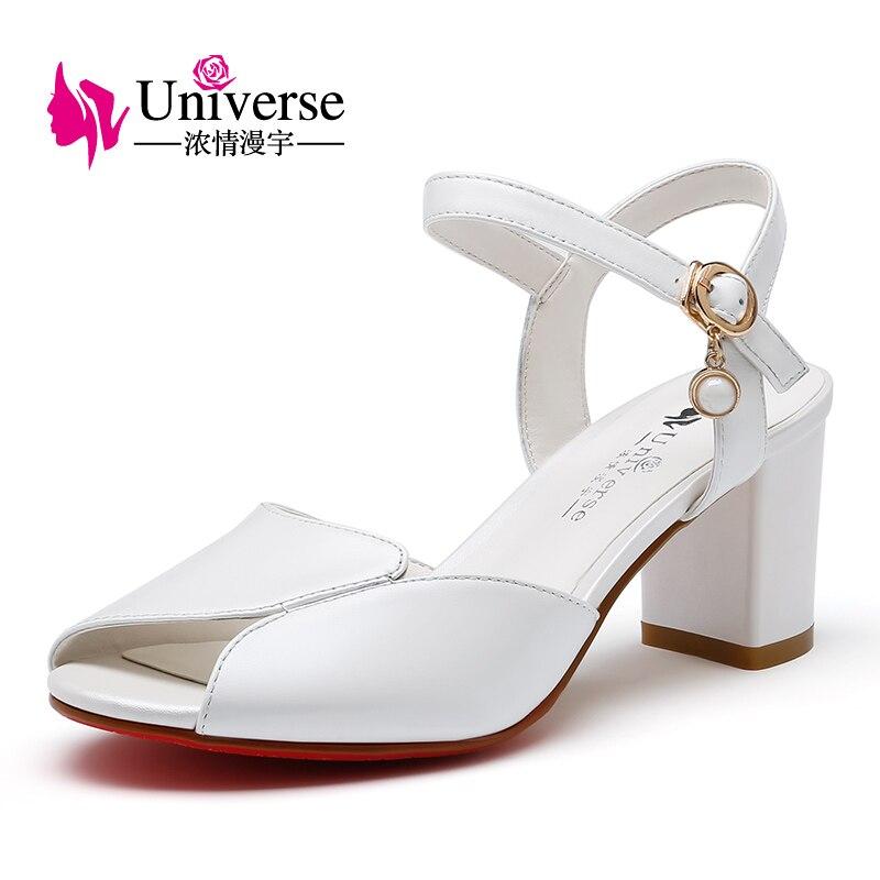Univers Vache En Cuir Femme Sandales Concis Chaussures Confortable Carré Talon Chaussures Plus Size34-43 C146
