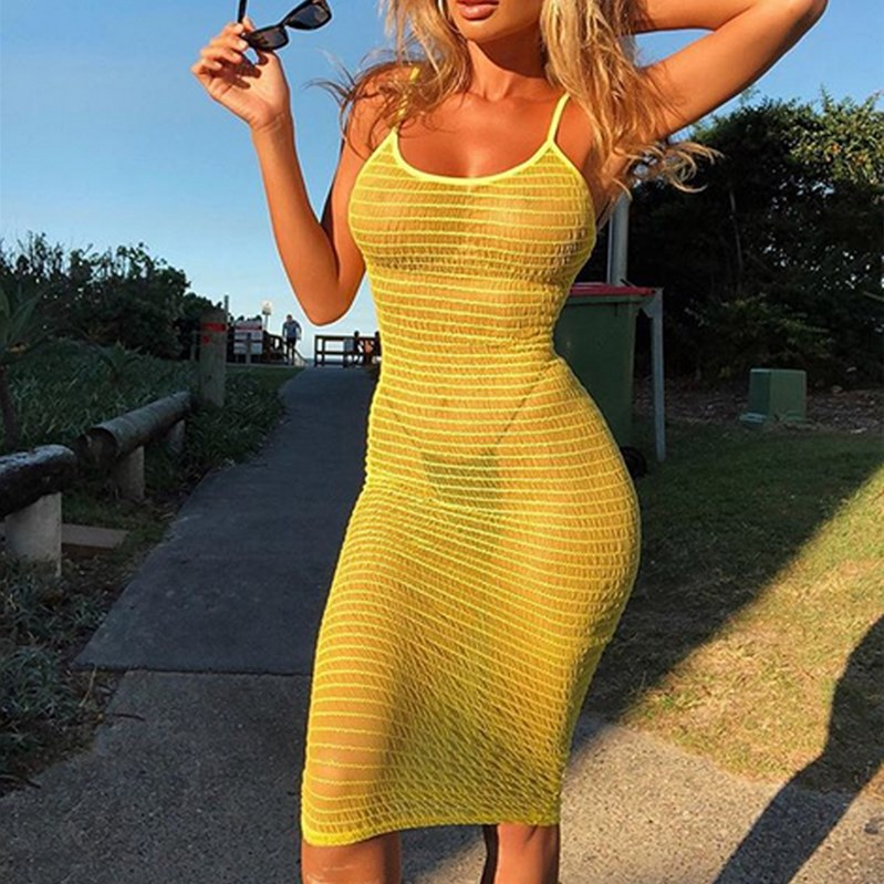 Fashionable Women's Bikini Long Cover Up Cardigan Mesh Summer Beach Transparent Dress Solid Color HOT SALE