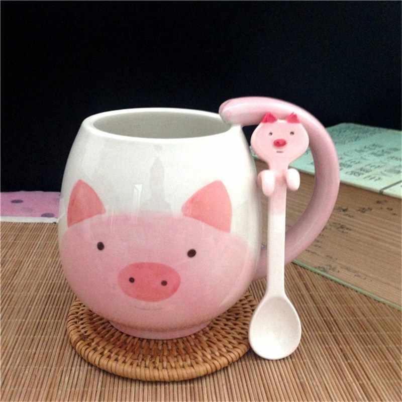 For With Birthday Ceramic Cup Hand Coffee Xmas Cute Gift Painted Cartoon Pandafrogcatpig Spoon Tea Lovely Mugs Children Mug vNn0mwy8O