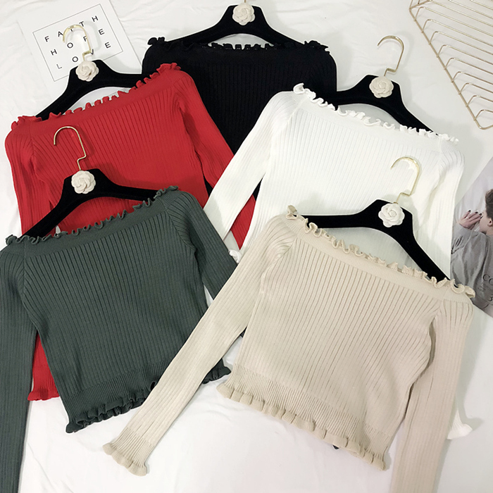 2019 Summer Knitted Tees Full Sleeve Female Sweaters  Cool Knitting Shirts Stretch Basic Tops Ladies Casual Clothing G134