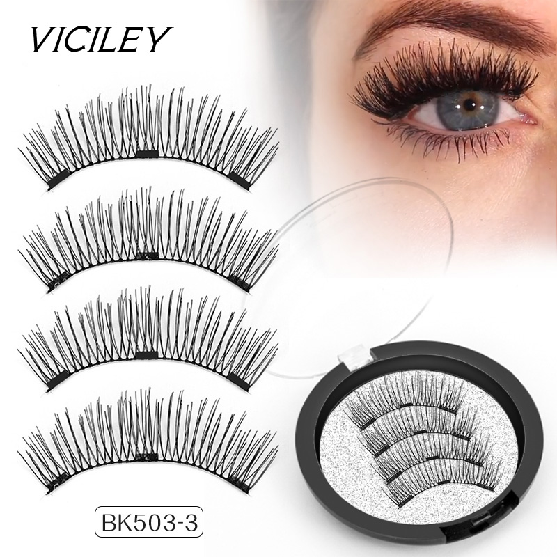 VICILEY Magnetic eyelash 3D definition false Lashes with 3 magnets Handmade cilios wholesale Volume Eye Lash Extension BK503