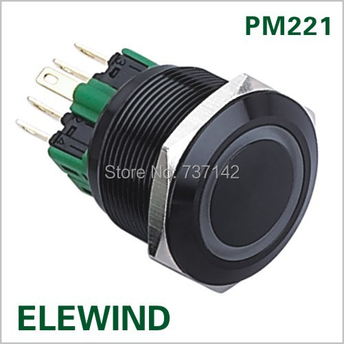 ELEWIND 22mm BLACK aluminum Ring illuminated  Momentary push button switch(PM221F-11E/G/12V/A) elewind 22mm ring illuminated piezo switch 22mm ps223p10yss1b24t rohs ce