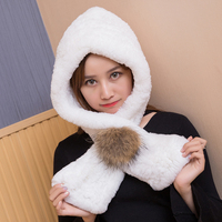 ZDFURS *Winter Hooded Hat Scarf Rex Rabbit Fur Knitted Caps Good Quality Real Fur Scarves & Hats Super Warm Women's Winter Hat