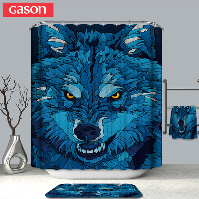 GASON Bathroom Curtain Quality Natural Waterproof Polyester 2 M Cloth 3D Farm Animal Totem Simple Shower