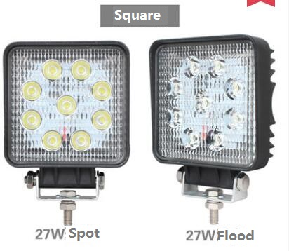 1x 4 inch Round or Square 27W LED Work Light 12V 24V Spot/Flood For 4x4 Offroad ATV Truck Tractor Motorcycle Driving Fog Light safego 2x 4 27w led work light 12v 24v off road 4x4 car trucks atv 4wd tractor led offroad lights flood spot driving lamp