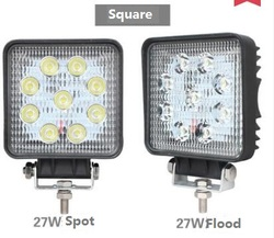 1x 4 inch Round or Square 27W LED Work Light 12V 24V Spot/Flood For 4x4 Offroad ATV Truck Tractor Motorcycle Driving Fog Light