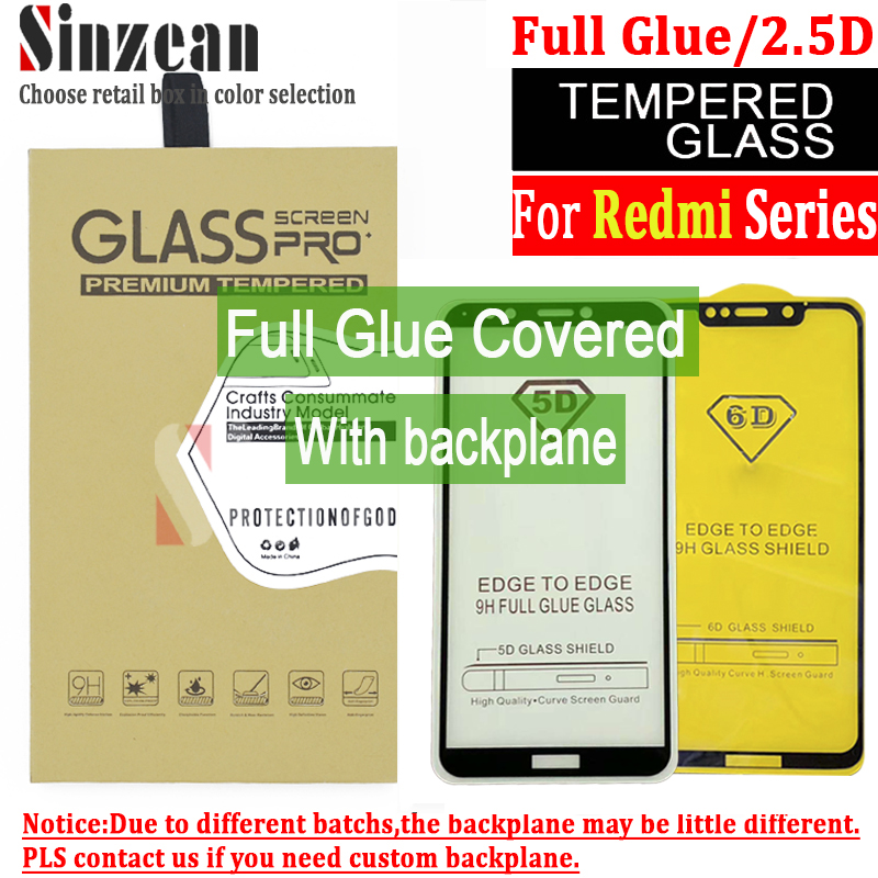 100pcs 2 5D Full Glue cover For Redmi 7 Note 6 Pro 5A S2 Tempered Glass