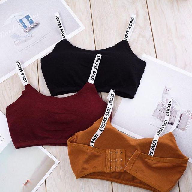 Mulheres Cortadas Sutiã Acolchoado Alfabeto Tops Tubo de Alças Modal almofada no peito removível