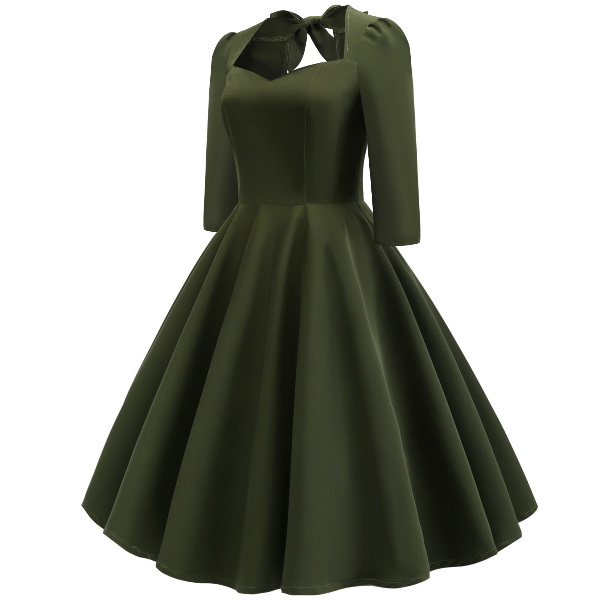 40753c29b0f9 Spring Autumn Women Army Green Elegant Vintage Dresses 2019 Bow Tie Back  Midi Solid Dress Women 3/4 Sleeve Party Backless Dress