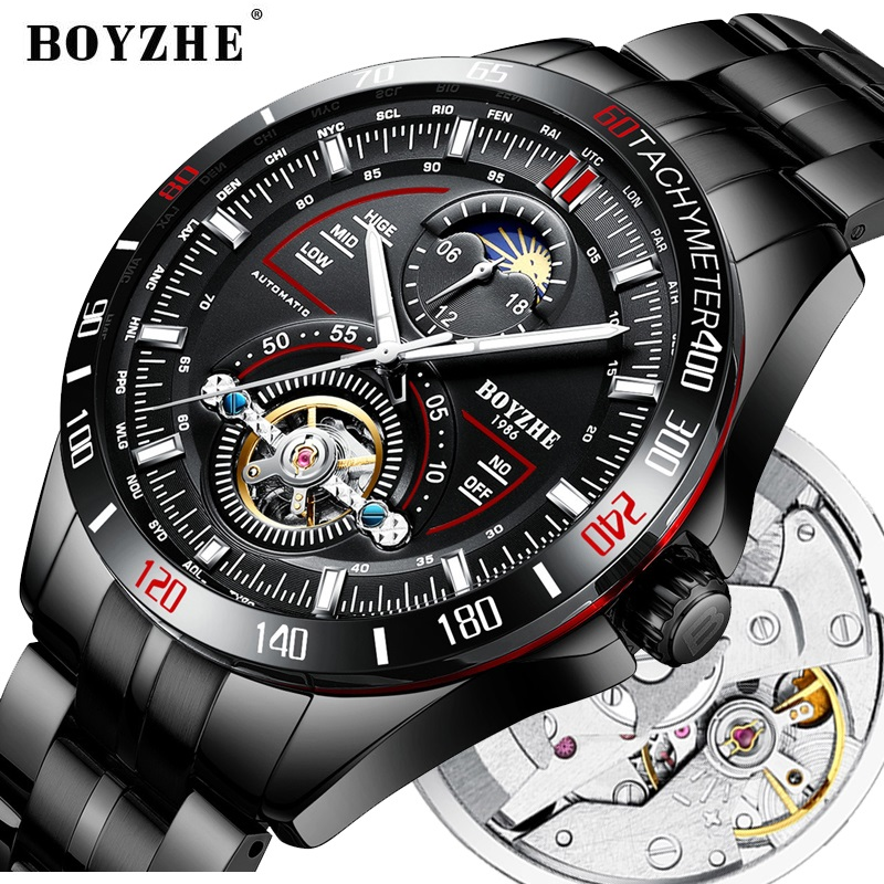 BOYZHE Automatic Mechanical Men Watch Fashion Top Brand Sports Watches Tourbillon Moon Phase Stainless Steel Relogio
