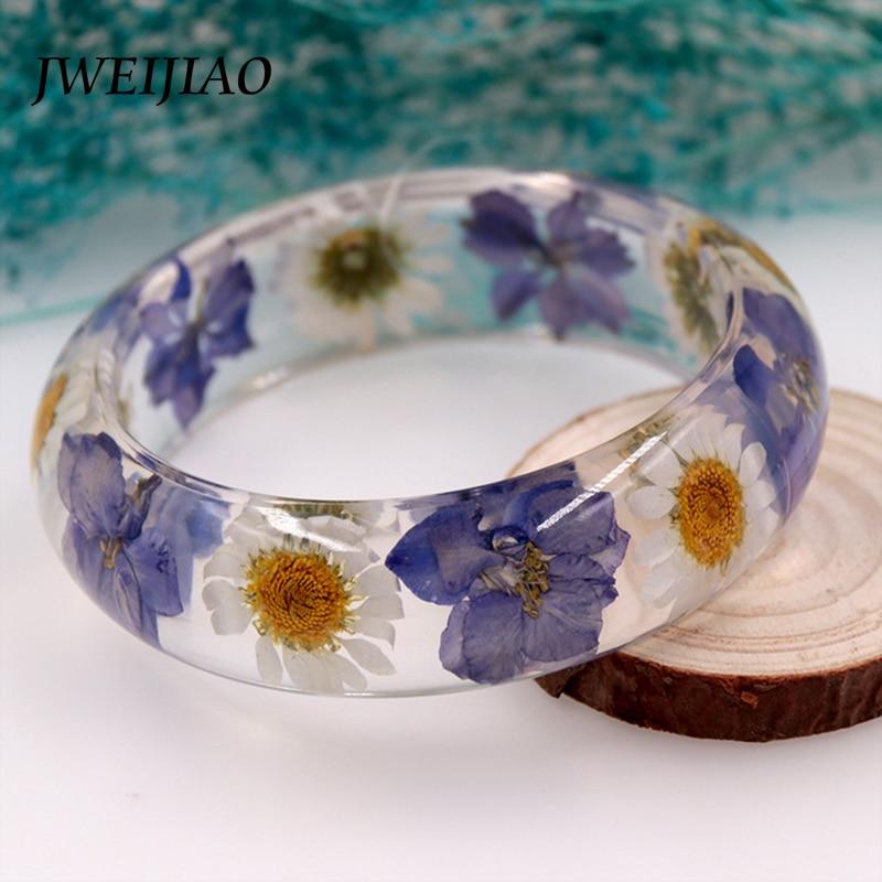 JWEIJIAO 2 Size 8 Styles Of Trendy Rose Resin Bangle & Bracelet Real Dried Flower Handmade Bracelet Transparent Jewelry S0001