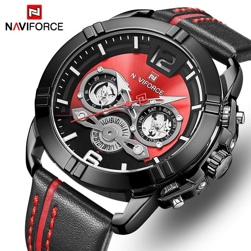 NAVIFORCE Homens Relógio Marca De Luxo Homens Esportes Militares Relógios de Quartzo de Couro À Prova D' Água Calendário Masculino Relógio Relogio masculino