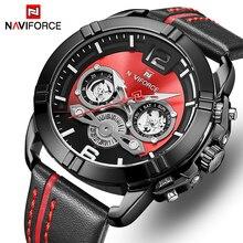 Naviforce homens relógio de luxo da marca dos homens militar esportes quartzo relógios masculino couro à prova dwaterproof água relógio calendário relogio masculino