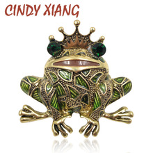 CINDY XIANG Wear Crown Prince Frog Brooches for Women Kids Gift Enamel Animal Brooch Pin Vintage Fashion Jewelry Accessories