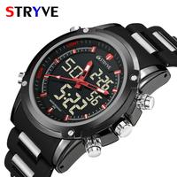 Stryve 8009 Military Sports   Watches   Men's Luxury Brand Waterproof Digital Quartz   Dual     Display   Wristwatches Men Relogio Masculino