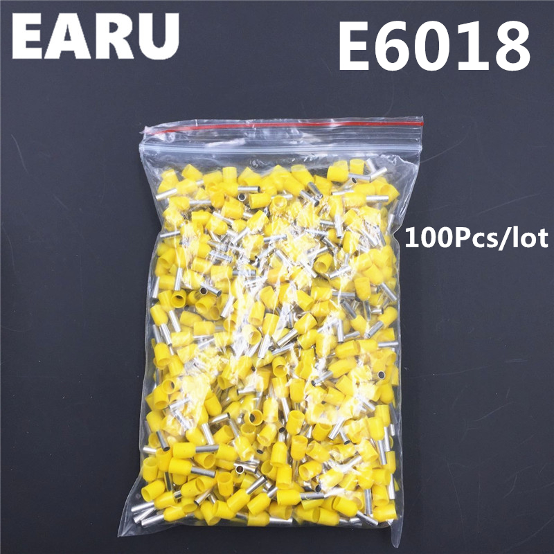100Pcs E6018 Tube Insulating Insulated Terminal 6MM2 10AWG Cable Wire Connector Insulating Crimp E Black Yellow Blue Red Green e1508 tube insulating insulated terminals 1 5mm2 100pcs pack cable wire connector insulating crimp terminal connector e