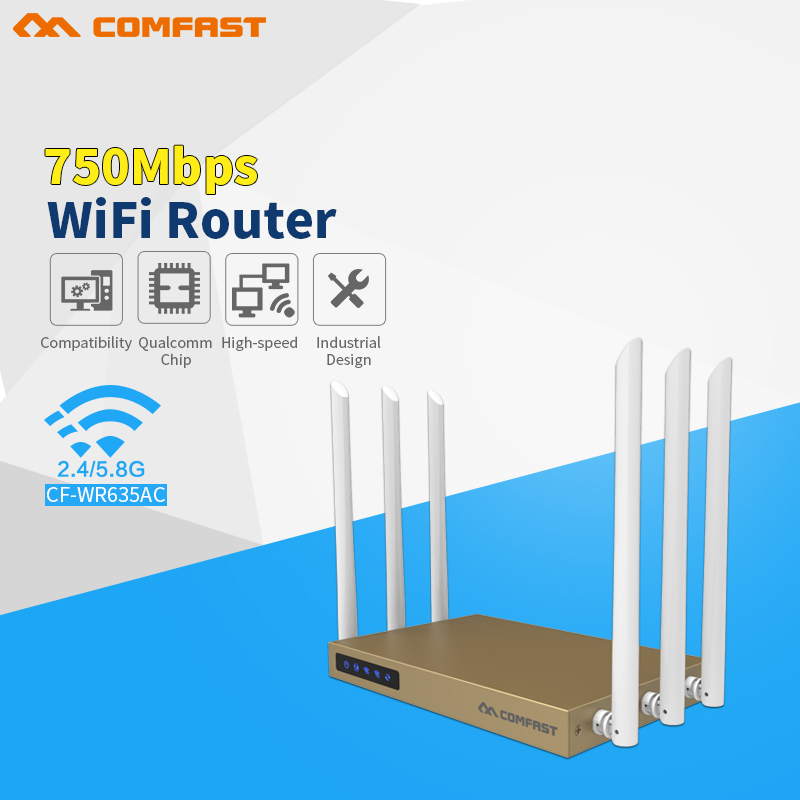 COMFAST 750Mbps Dual Band 802.11ac wireless wifi router repeator with 6*6dBi WI-FI antenna CF-WR635AC high power wi fi router comfast full gigabit core gateway ac gateway controller mt7621 wifi project manager with 4 1000mbps wan lan port 880mhz cf ac200