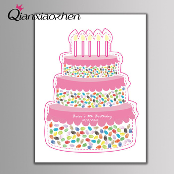 Qianxiaozhen Personalized Birthday Cake Fingerprint Guest Book Wedding Decoration Birthday Party Decorations Kids Adult Decor
