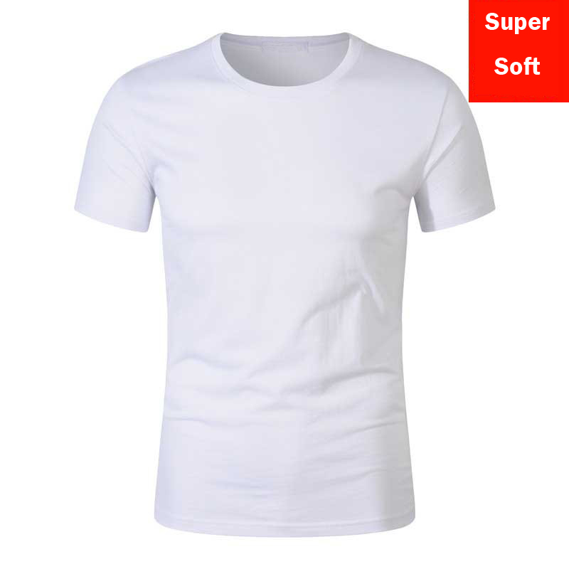 Summer Super Soft White T Shirts Men Short Sleeve Cotton Modal Flexible T-shirt White Color Size S-XXXL